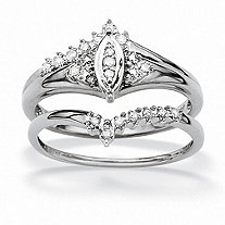 SETA JEWELRY 1/10 TCW Round Diamond Solid 10k White Gold Marquise-Shaped Bridal Engagement Ring Set