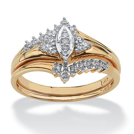 1/10 TCW Round Diamond 10k Yellow Gold Bridal Engagement Wedding Marquise-Shaped Ring Set at PalmBeach Jewelry