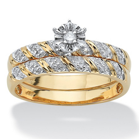 1/10 TCW Round Diamond Two-Piece Bridal Set in 10k Gold at PalmBeach Jewelry
