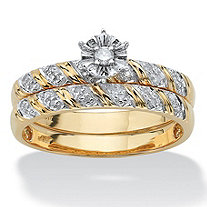 1/10 TCW Round Diamond Two-Piece Bridal Set in 10k Gold