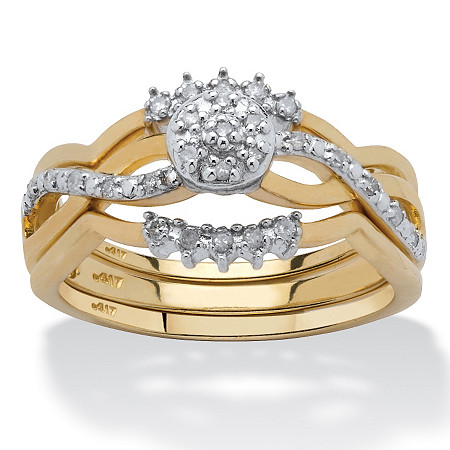 2 Piece 1/7 TCW Round Diamond Wave Bridal Ring Set in 10k Gold at PalmBeach Jewelry