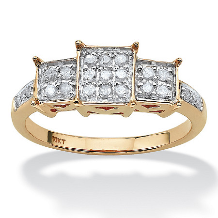 1/6 TCW Round Diamond Square-Shaped Ring in 10k Yellow Gold at PalmBeach Jewelry