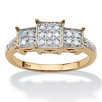 1/6 TCW Round Diamond Square-Shaped Ring in 10k Yellow Gold