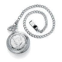 Men's JFK Bicentennial Half-Dollar Coin Pocket Watch in Silvertone 13""