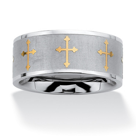 Cross Eternity Two-Tone Band in Stainless Steel and Gold Tone at PalmBeach Jewelry