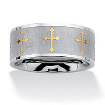 Cross Eternity Two-Tone Band in Stainless Steel and Gold Tone