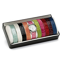 10-Piece Fashion Watch Set with Interchangeable Croco-Embossed Simulated Leather Bands in Silvertone 8""