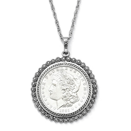 "Silvertone Uncirculated Genuine Morgan Lady Liberty Dollar Drop Pendant and Chain 24"" at PalmBeach Jewelry"