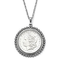 Silvertone Uncirculated Genuine Morgan Lady Liberty Dollar Drop Pendant and Chain 24""