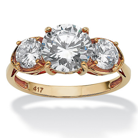 3 TCW Round Cubic Zirconia Solid 10k Yellow Gold 3-Stone Bridal Engagement Ring at PalmBeach Jewelry