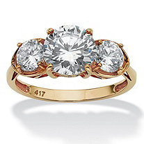 3 TCW Round Cubic Zirconia 10k Yellow Gold 3-Stone Bridal Engagement Ring