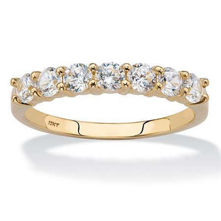 Round Cubic Zirconia Wedding Anniversary Band Ring .70 TCW in Solid 10k Yellow Gold at PalmBeach Jewelry