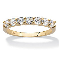 .70 TCW Round Cubic Zirconia Solid 10k Yellow Gold Wedding Anniversary Band Ring