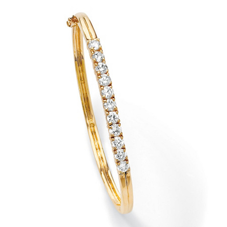"Round Cubic Zirconia Bangle Bracelet 2.75 TCW 18k Gold-Plated 7 3/4"" at PalmBeach Jewelry"