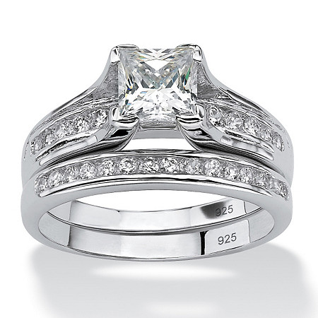1.88 TCW Princess-Cut Cubic Zirconia Two-Piece Bridal Set in Platinum over .925 Sterling Silver at PalmBeach Jewelry