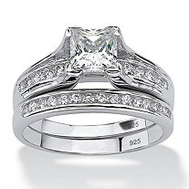 SETA JEWELRY 1.88 TCW Princess-Cut Cubic Zirconia Two-Piece Bridal Set in Platinum over .925 Sterling Silver