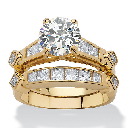 3.14 TCW Cubic Zirconia Two-Piece Bridal Ring Set in 14k Gold over Sterling Silver at PalmBeach Jewelry