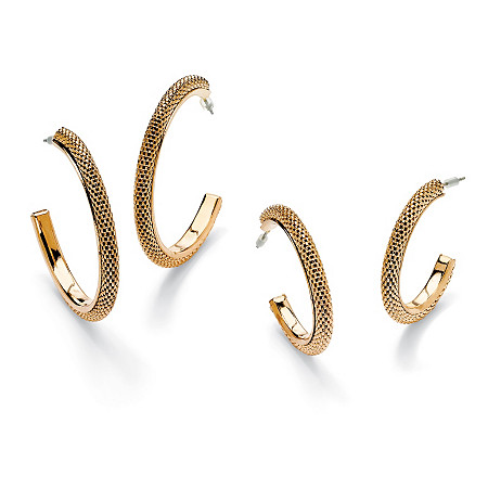 Two-Pair Set of Mesh Hoop Earrings in Yellow Gold Tone at PalmBeach Jewelry