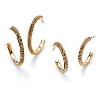"Two-Pair Set of Mesh Hoop Earrings in Yellow Gold Tone (1 3/4"", 1 1/2"")"