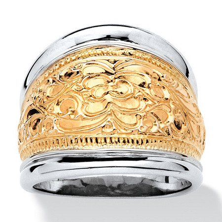 14k Yellow Gold-Plated Sterling Silver Two-Tone Scroll Motif Cigar Band Ring at PalmBeach Jewelry