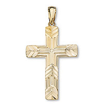 SETA JEWELRY 10k Yellow Gold Diamond-Cut Cross Pendant