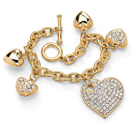 "Crystal Multi-Heart Charm Bracelet in Yellow Gold Tone 8"" at PalmBeach Jewelry"