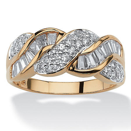 1.79 TCW Baguette Cut Cubic Zirconia 14k Yellow Gold over Sterling Silver Braided Ring at PalmBeach Jewelry
