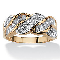 1.79 TCW Baguette Cut Cubic Zirconia 14k Yellow Gold over Sterling Silver Braided Ring