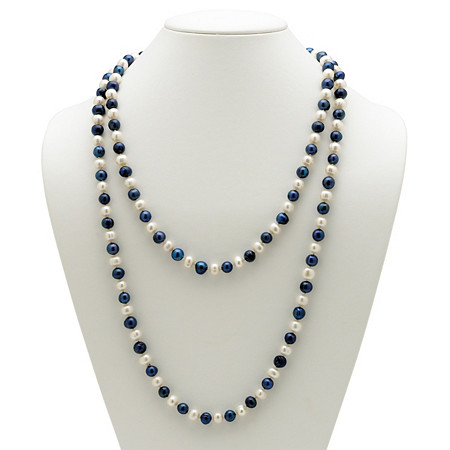 "Round Navy Blue and White Cultured Freshwater Pearl Endless Necklace 48"" at PalmBeach Jewelry"