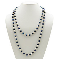Round Navy Blue and White Cultured Freshwater Pearl Endless Necklace 48""
