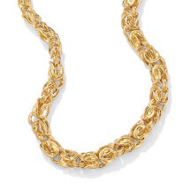 "Byzantine-Link Necklace in Yellow Gold Tone 20"" (7mm)"
