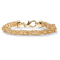 "Byzantine-Link Bracelet in Yellow Gold Tone 9"" (7mm)"