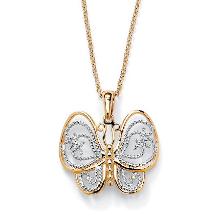 "18k Gold-Plated Two-Tone Filigree Butterfly Charm Rolo-Link Necklace 18"" at PalmBeach Jewelry"