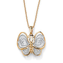 18k Gold-Plated Two-Tone Filigree Butterfly Charm Rolo-Link Necklace 18