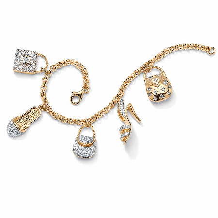 1.53 TCW Cubic Zirconia Purses and Shoes Charm Bracelet in Yellow Gold Tone at PalmBeach Jewelry