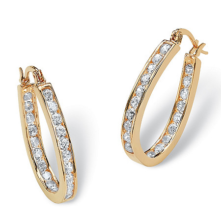 "2.52 TCW Round Cubic Zirconia Inside-Out Hoop Earrings in Yellow Gold Tone (1"") at PalmBeach Jewelry"