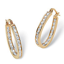 SETA JEWELRY 2.52 TCW Round Cubic Zirconia Inside-Out Hoop Earrings in Yellow Gold Tone