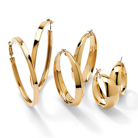 "3 Pair Hoop Earrings Set in Yellow Gold Tone (2 1/2"", 2"", 1 1/5"") at PalmBeach Jewelry"