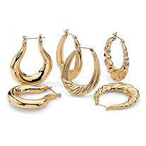 "3-Pair Set of Hoop Earrings in Yellow Gold Tone (1"")"