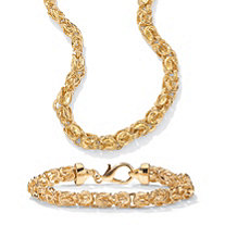 "Byzantine-Link 2-Piece Necklace and Bracelet Set 14k Gold-Plated 20"" (7mm)"