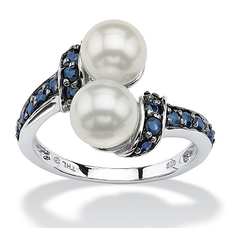 .79 TCW Midnight Blue Genuine Sapphire and Freshwater Pearl Platinum over Sterling Silver Ring at PalmBeach Jewelry