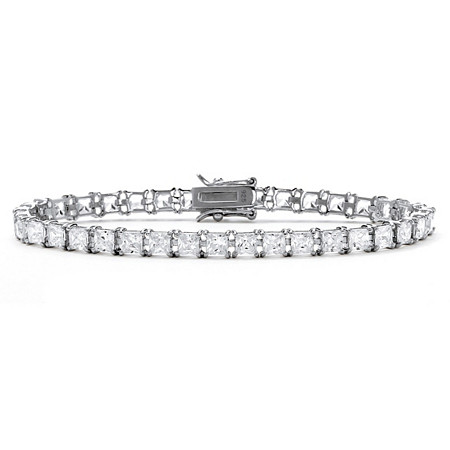 "13.32 TCW Princess-Cut Cubic Zirconia Tennis Bracelet in Sterling Silver 7.5"" at PalmBeach Jewelry"