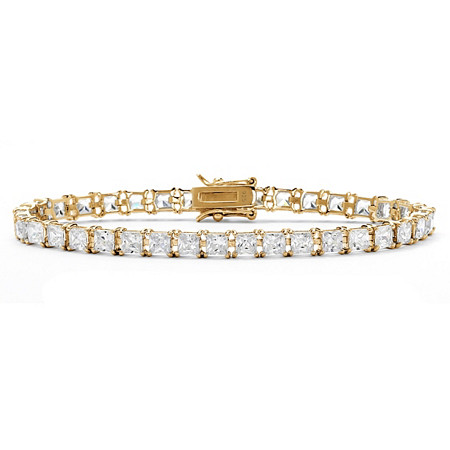 "Princess-Cut Cubic Zirconia Tennis Bracelet 13.32 TCW in 18k Gold over Sterling Silver 7.5"" at PalmBeach Jewelry"