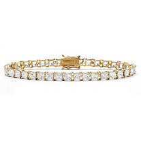 SETA JEWELRY Princess-Cut Cubic Zirconia Tennis Bracelet 13.32 TCW in 18k Gold over Sterling Silver 7.5