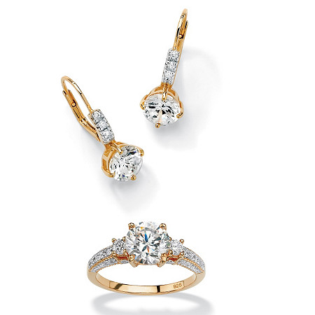 3 1/8 TCW Round Cubic Zirconia 18k Gold over Sterling Silver Earrings + FREE Cubic Zirconia Ring at PalmBeach Jewelry