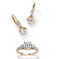 3 1/8 TCW Round Cubic Zirconia 18k Gold over Sterling Silver Earrings + FREE Cubic Zirconia Ring