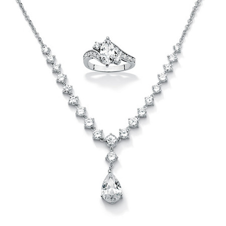 2.49 TCW Cubic Zirconia Ring in Sterling Silver + FREE 6.65 TCW Cubic Zirconia Silvertone Necklace at PalmBeach Jewelry