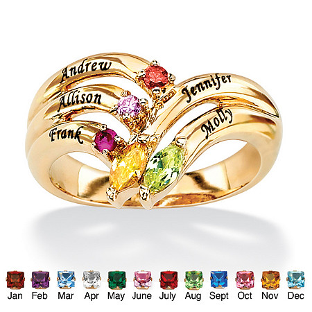 Personalized Birthstone Round and Marquise-Cut Family Ring in 18k Gold over Sterling Silver at PalmBeach Jewelry