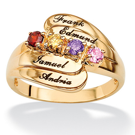 18k Gold over Sterling Silver Personalized Round Birthstone Family Ring at PalmBeach Jewelry