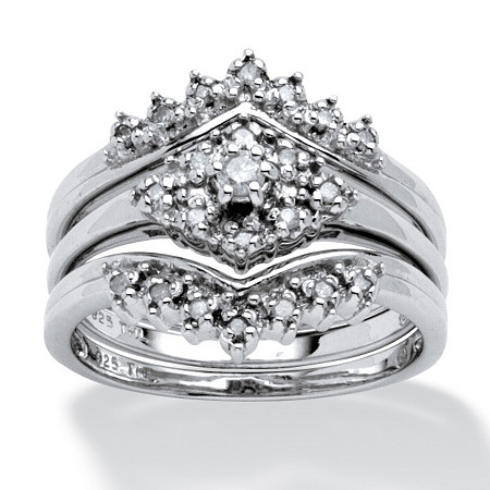 1/5 TCW Round Diamond 3-Piece Bridal Set in Platinum over Sterling Silver at PalmBeach Jewelry